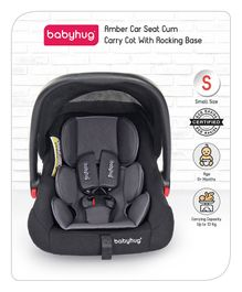 Babyhug Amber Car Seat Cum Carry Cot With Rocking Base - Black Grey
