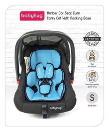 Babyhug Amber Car Seat Cum Carry Cot With Rocking Base - Black Blue