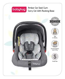 Babyhug Amber Car Seat Cum Carry Cot With Rocking Base - Grey
