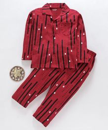 Doreme Full Sleeves Night Suit Alphabet Print - Maroon