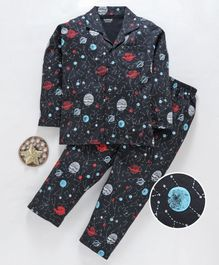 Doreme Full Sleeves Night Suit Space Print - Grey
