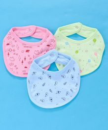 Zero Snap Button Closure Bibs Multi Print Pack of 3 - Blue Green Pink