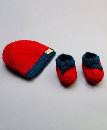 The Original Knit Dual Shaded Cap With Booties - Multicolour