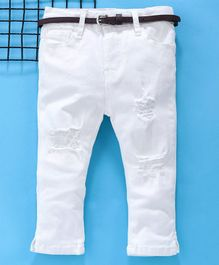 Memory Life Full Length Ripped Trouser With Belt - White