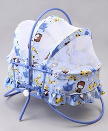Mothertouch Rocking Cradle Cum Bassinet Animal Print - Blue