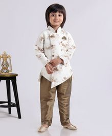 Dapper Dudes Flower Printed Asymmetric Full Sleeves Kurta & Pajama Set - White