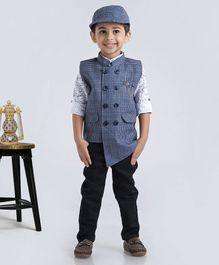 Dapper Dudes Full Sleeves Shirt With Checked Waistcoat Bottom & Cap - Blue