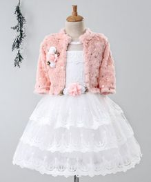 Enfance Sleeveless Scallop Trimmed Flower Embroidered Dress With Faux Fur Full Sleeves Shrug - Light Peach