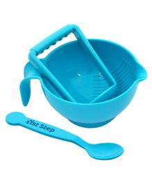 1st Step BPA Free Microwave Friendly Food Grinder With Spoon - Blue