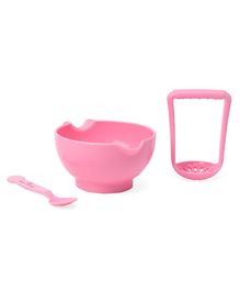 1st Step BPA Free Microwave Friendly Food Grinder With Spoon - Pink