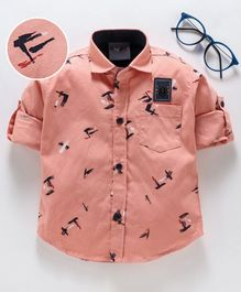 Dapper Dudes Printed Full Sleeves Shirt - Peach