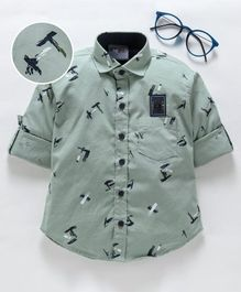 Dapper Dudes Printed Full Sleeves Shirt - Green