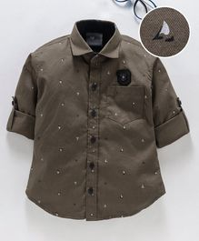 Dapper Dudes Boat Print Full Sleeves Shirt - Brown