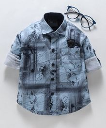 Dapper Dudes Printed Full Sleeves Shirt - Blue