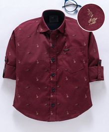 Dapper Dudes Leaves Printed Full Sleeves Shirt - Maroon