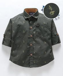 Dapper Dudes Leaves Printed Full Sleeves Shirt - Green