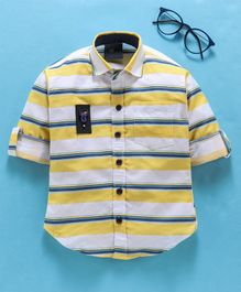 Dapper Dudes Striped Roll Up Full Sleeves Shirt - Yellow