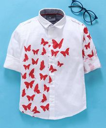 Dapper Dudes Butterfly Printed Roll Up Full Sleeves Shirt - Red
