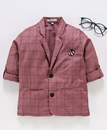 Dapper Dudes Checkered Full Sleeves Blazer - Pink