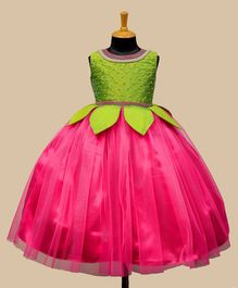 Li&Li Boutique Pearl Detailed Sleeveless Leaf Applique Dress - Green & Pink