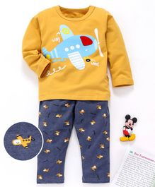 Kookie Kids Full Sleeves Night Suit Aeroplane Print - Yellow