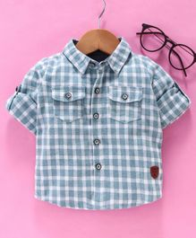 Little One Full Sleeves Checked Shirt With Bow - Blue