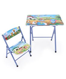 Study Table With Chair Alphabets & Amusement Park Print - Blue
