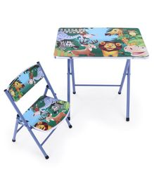 Study Table With Chair Alphabets & Animal Print - Blue
