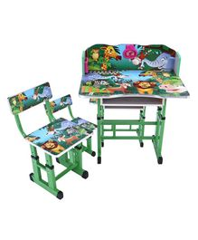 Study Table With Chair Alphabets & Animal Print - Green