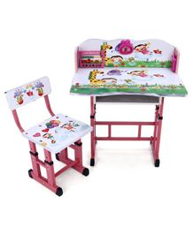 Study Table With Chair Alphabets & Animals Print - White