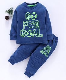 Cucumber Full Sleeves Winter Wear Tee & Lounge Pant Goal Print - Royal Blue Green