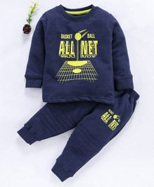 Cucumber Full Sleeves Winter Wear Tee & Lounge Pant Basketball Print - Navy Blue Yellow