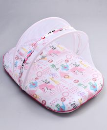 Fisher Price Mattress With Mosquito Net & Pillow Animals Print - Pink