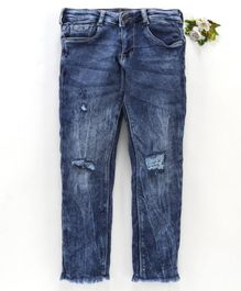 Vitamins Full Length Ripped Jeans With Adjustable Elastic Waist - Blue