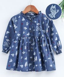 Cucumber Full Sleeves Frock Multiprint - Blue