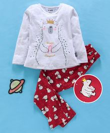 Fido Full Sleeves Winter Wear Top & Leggings Polar Bear Print - Grey Red