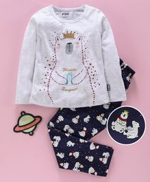 Fido Full Sleeves Winter Wear Top & Leggings Polar Bear Print - Grey Blue