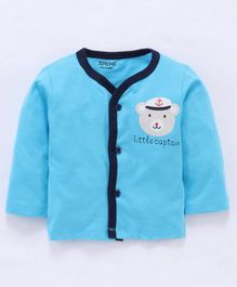 Doreme Full Sleeves Vest Teddy Print - Light Blue