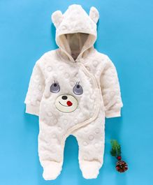 MFM Full Sleeves Hooded Romper Face Patch - Off White