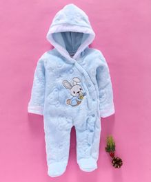 MFM Full Sleeves Hooded Romper Bunny Patch - Blue