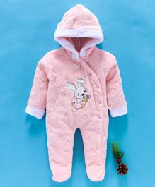 MFM Full Sleeves Hooded Romper Bunny Patch - Pink