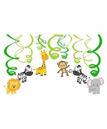 Party Propz Animals Hanging Swirls Pack Of 12 - Multicolor