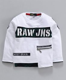 Tacos Raw Print Full Sleeves Tee - White