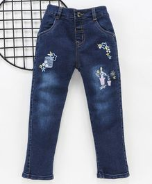 Olio Kids Full Length Jeans Floral & Bunny Embroidery - Light Blue