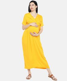 Blush 9 Solid Half Sleeves Overlap Maternity Dress - Yellow