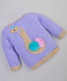 The Original Knit Animal Design Full Sleeves Sweater - Purple