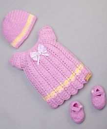 The Original Knit Bow Detailed Short Sleeves Dress With Cap & Booties - Light Pink