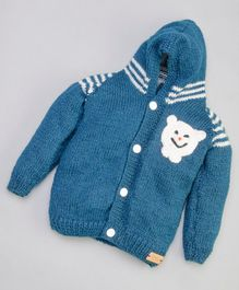 The Original Knit Bear Face Design Full Sleeves Hooded Sweater - Dark Blue
