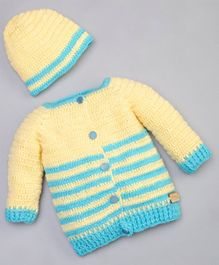 The Original Knit Striped Pattern Full Sleeves Sweater With Cap - Yellow & Blue
