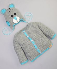 The Original Knit Full Sleeves Sweater With Teddy Design Cap - Grey